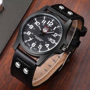Other - ⌚️NEW⌚️Mens Calendar Leather Strap Quartz Watch